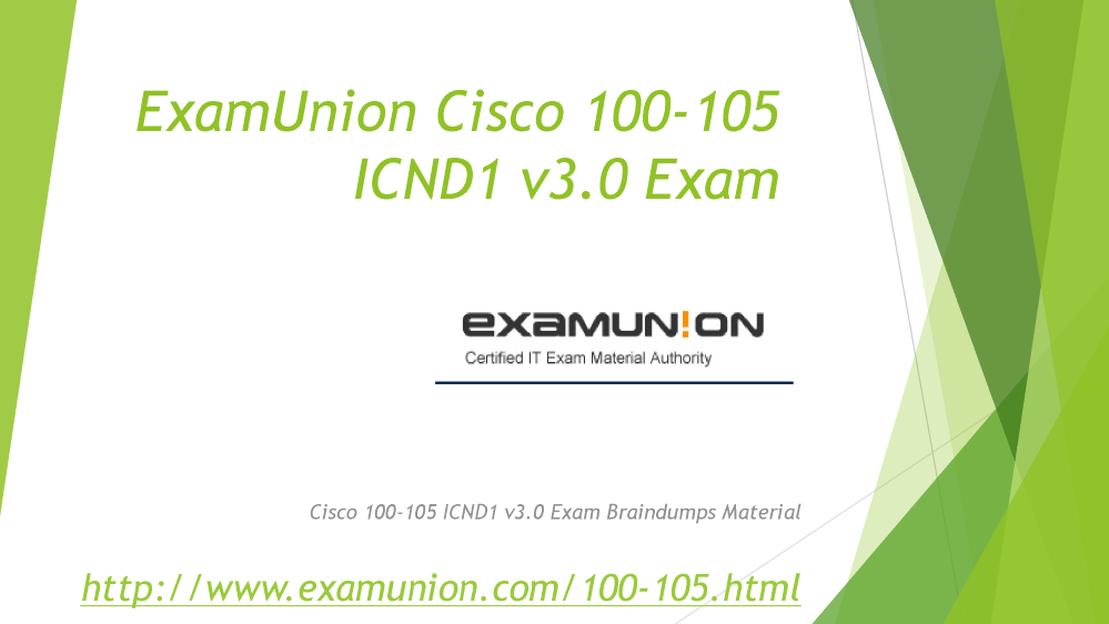 100 105 Icnd1 V30 Cisco Ccent Exam Question From Examunion