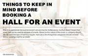 Things to keep in mind before booking event hall