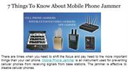 7 Things To Know About Mobile Phone Jammer
