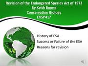 Revision of the Endangered Species Act of 1973