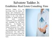 Salvatore Taddeo Jr. - Establishes Real Estate Consulting Firm