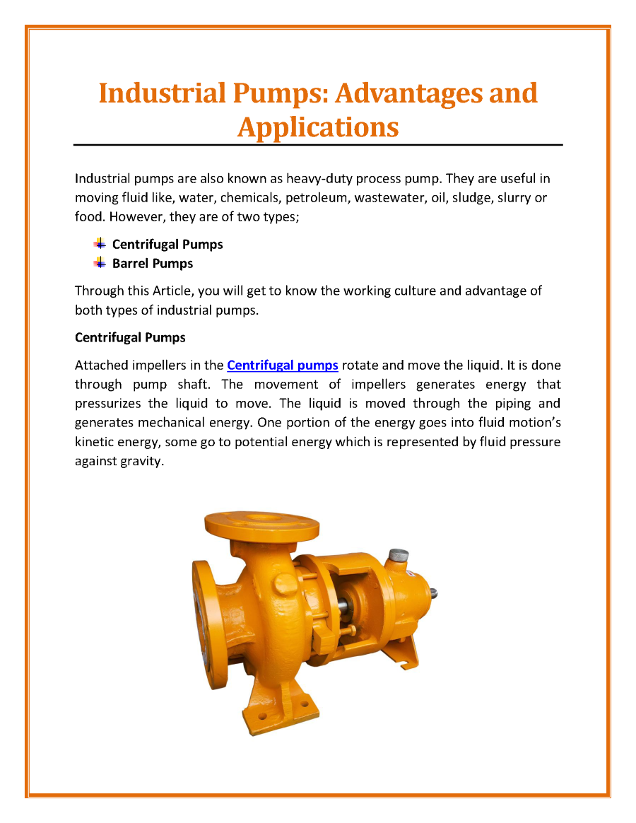 applications of centrifugal water pump