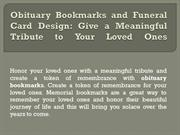 Obituary Bookmarks and Funeral Card Design