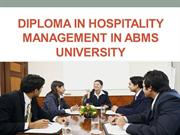 Diploma in Hospitality Management in ABMS UNIVERSITY