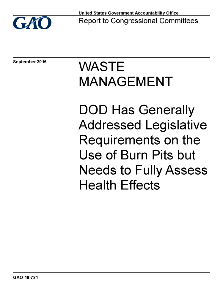 Gao Recommends Legislation Re Notice Of >> Gao White Collar Criminal Cover Up Of Burn Pits Authorstream