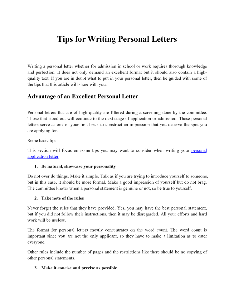 Tips For Writing Personal Letters Authorstream