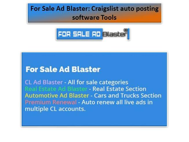 For Sale Ad Blaster: Craigslist Auto Posting Software Tools
