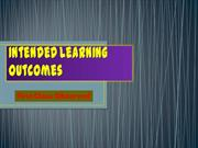 Intended Learning Outcomes 1