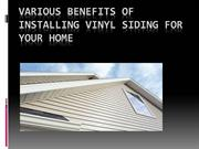 Various benefits of installing vinyl siding for your home