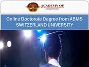 Online Doctorate Degree from ABMS SWITZERLAND UNIVERSITY