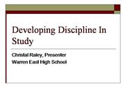 Developing Discipline In Study Ppt