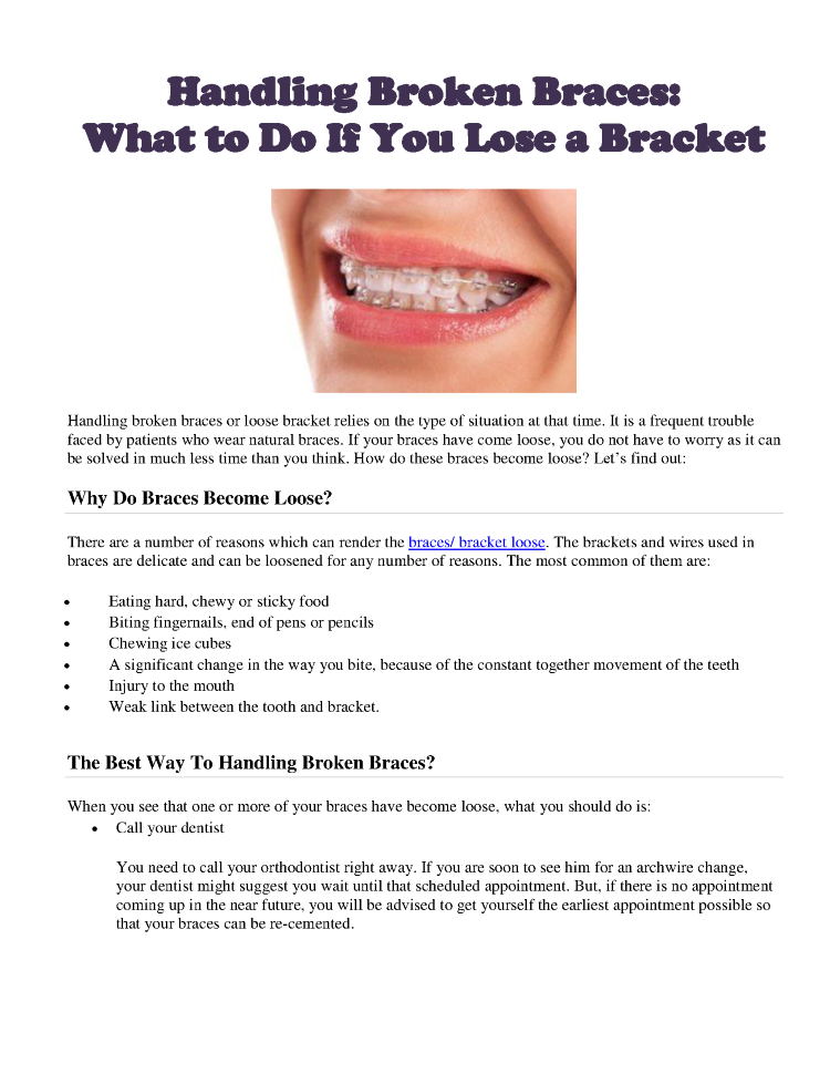 Handling Broken Braces: what to Do If You Lose a Bracket |authorSTREAM