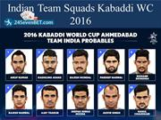 Indian Team Squards Kabaddi WC 2016
