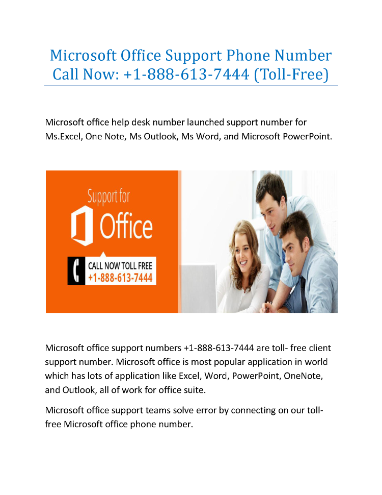 Microsoft Office Support Phone Number   1 888 613 7444