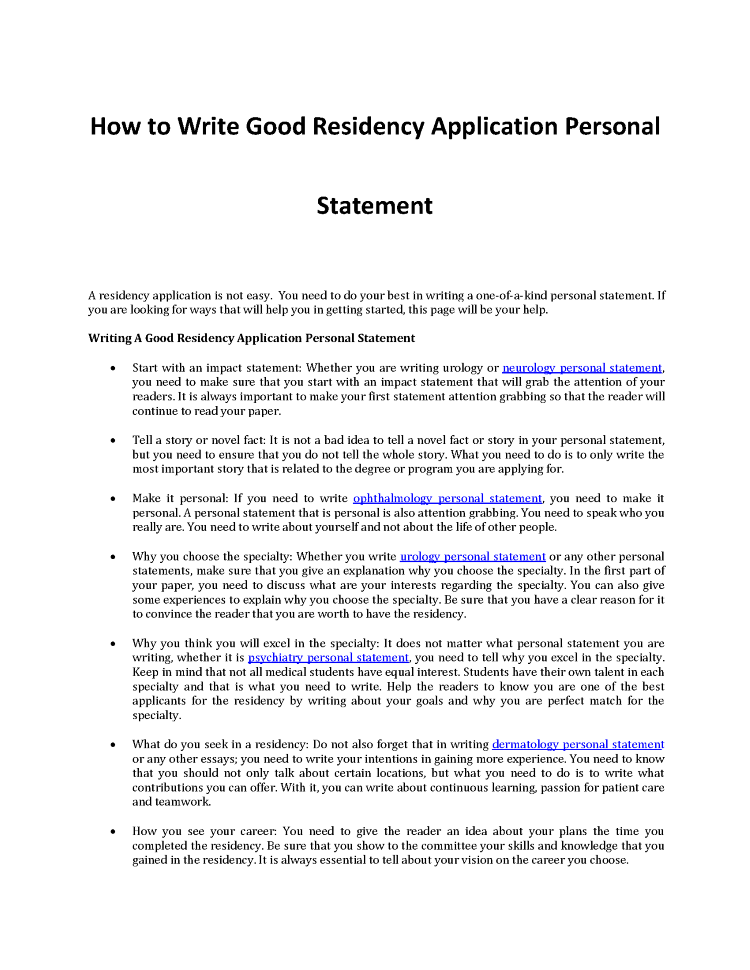 best personal statements for residency