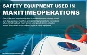 Various kinds of safety equipment used in maritime operations