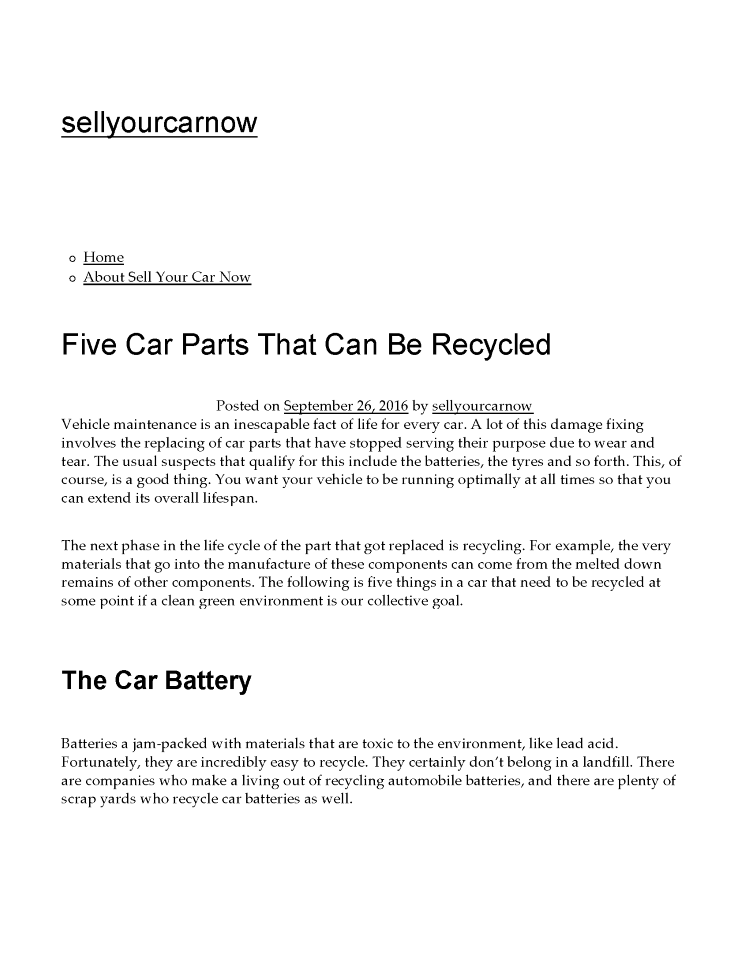 Five Car Parts that Can be Recycled |authorSTREAM