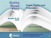 Gotta Read This 2016 Poets, Poetry and Folklore