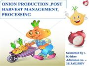 ONION PRODUCTION ,POST HARVEST MANAGEMENT, PROCESSING