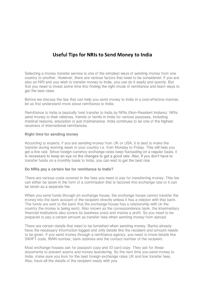 Useful Tips for Nris to Send Money to India |authorSTREAM