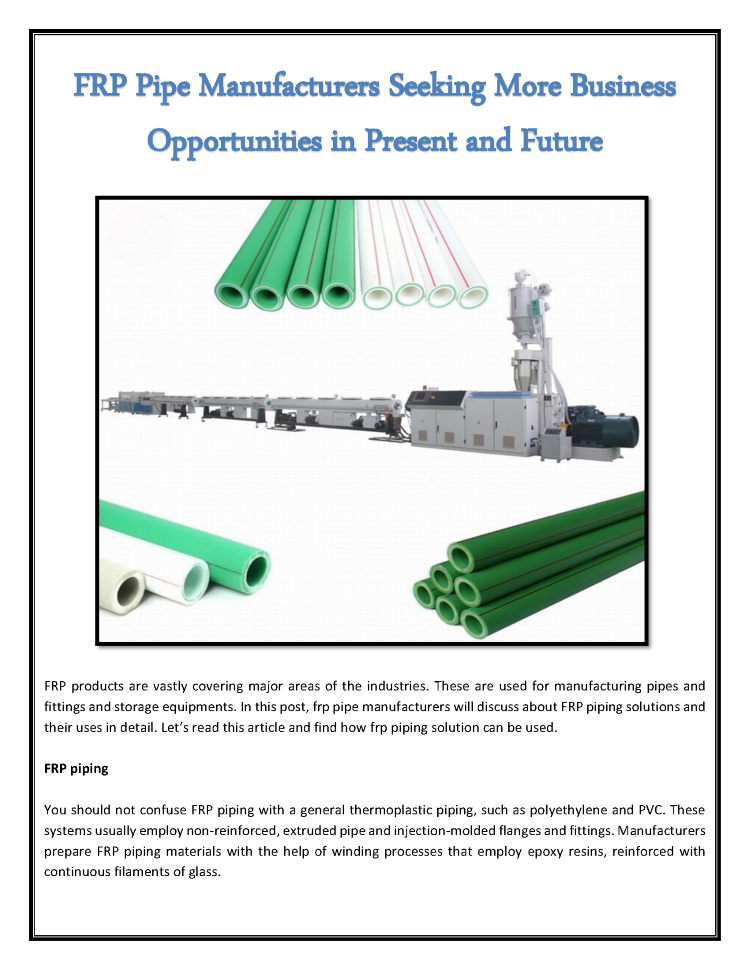 FRP Pipe Manufacturers Seeking More Business Opportunities in Pres