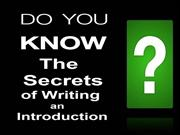 Do You Know The Secrets of Writing a Powerful Introduction