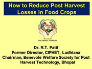 How to reduce post harvest losses in food crops