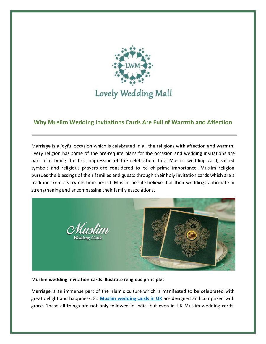 Increasing Selection of Muslim Wedding Cards in UK |authorSTREAM