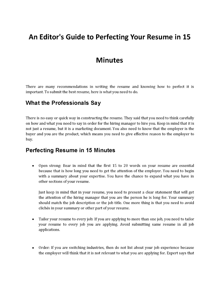 How To Perfect Your Resume In 15 Minutes Authorstream