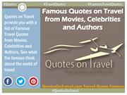 Famous Quotes on Travel from Movies, Celebrities and Authors