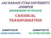 canonical transformation vinod
