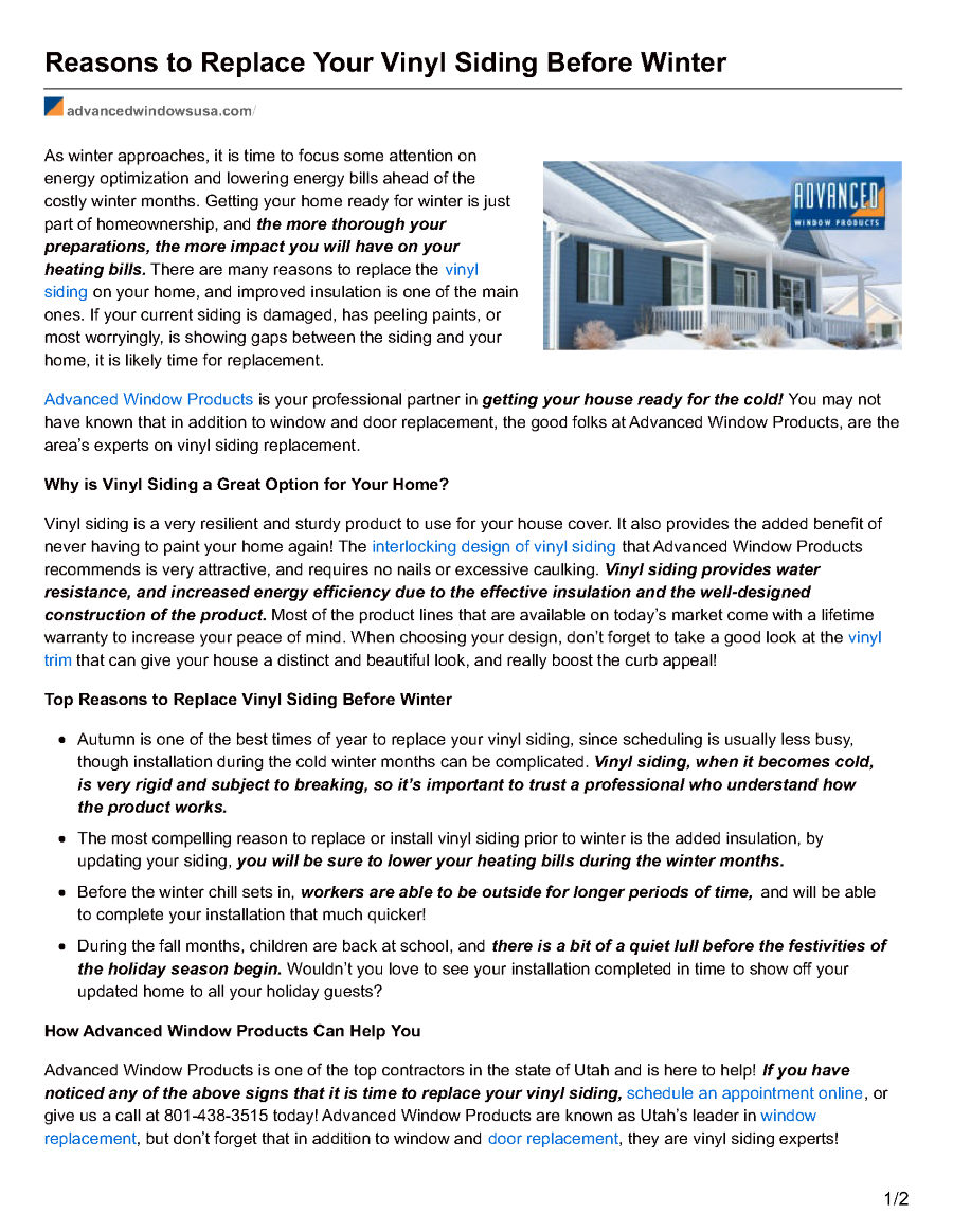 Reasons to replace your vinyl siding before win authorstream - Reasons may need replace windows ...