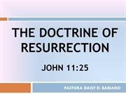 The Doctrine Of Resurrection