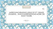 Improving lexile scores of 3rd grade students