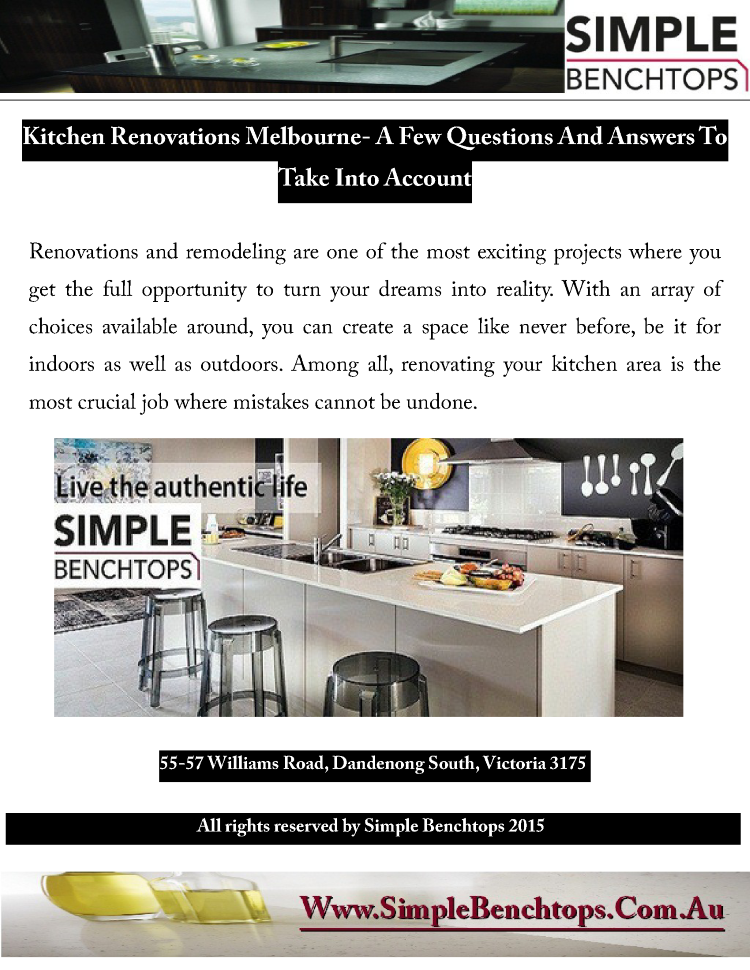 Kitchen Renovations Melbourne- A Few Questions And Answers