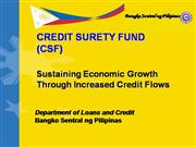 Credit Surety Funds - Rationale