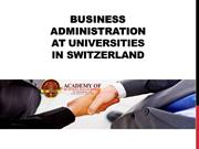 Business Administration at Universities in Switzerland