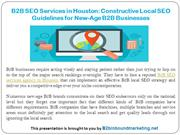 B2B SEO Services in Houston- Constructive Local SEO Guidelines for New