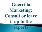 Guerrilla Marketing: Consult or leave it up to the experts