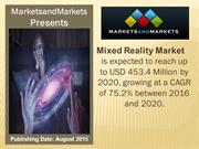 Mixed Reality Market worth 453.4 Million USD by 2020