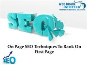 On Page SEO Techniques To Rank On First Page of Google