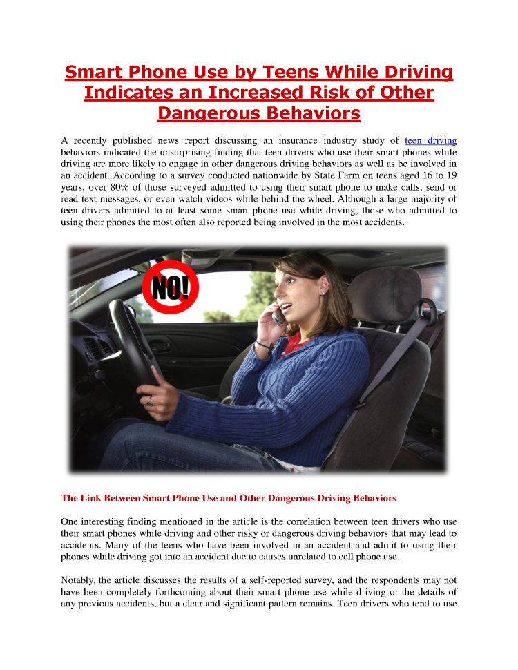 Teen Smart Driving >> Smart Phone Use By Teens While Driving Indicates An