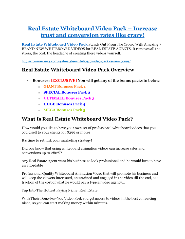 Real Estate Whiteboard Video Pack Review