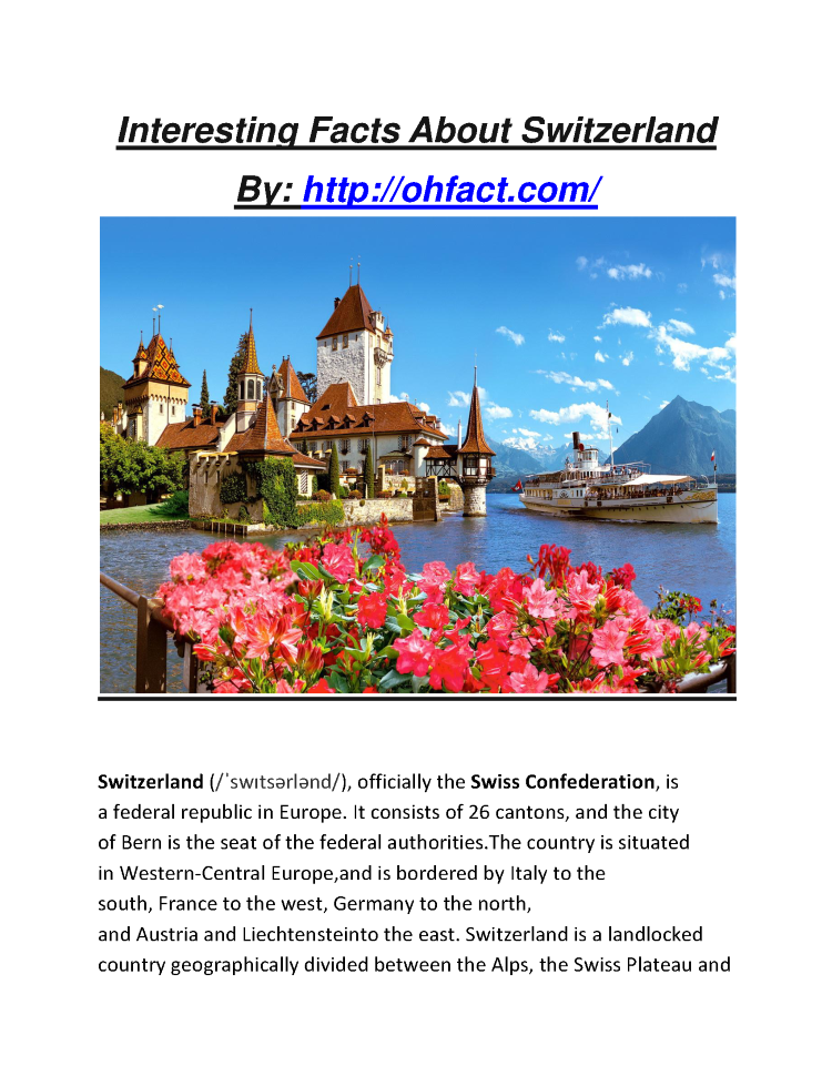 interesting facts about switzerland authorstream