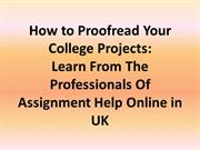 How to Proofread Your College Projects