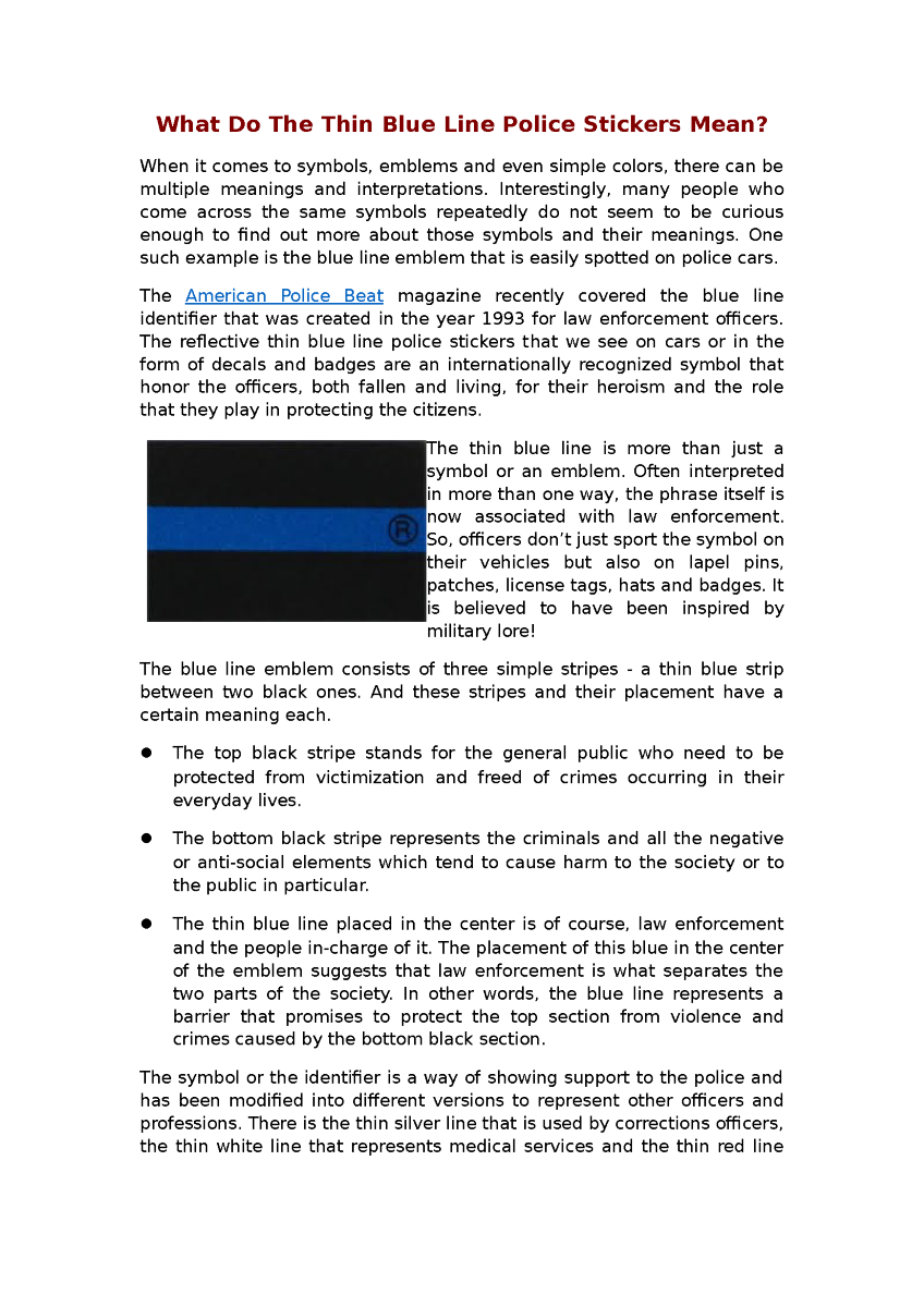 What Do the Thin Blue Line Police Stickers Mean |authorSTREAM