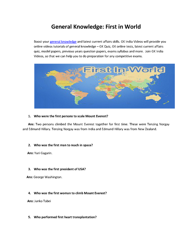 General Knowledge- First in World |authorSTREAM