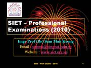 SIET-Professional Exams-2010