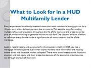 What to Look for in a HUD Multifamily