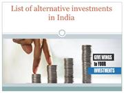 List of alternative investments in India